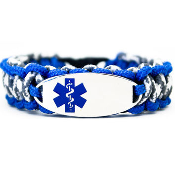 Personalized Kids Medical Alert ID Paracord Bracelet w/ Oval Stainless Steel Engraved ID Tag - Blue Medical Symbol for Girls or Boys