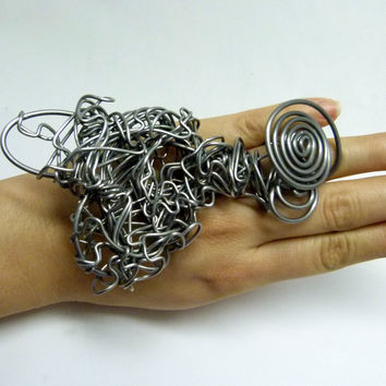 Crumbled wire heart ring , sdjustable band , ooak , dramatic design jewelry , statement art jewelry , big bold jewlry
