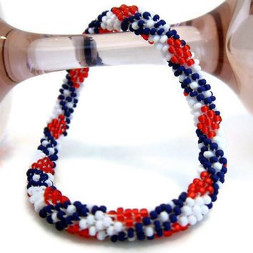 Bead Crochet Bracelet Stars & Stripes Series Diamonds In by lanmom