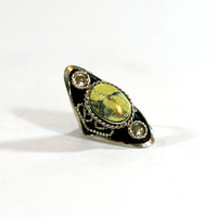Green Diamond Natural Stone Silver Boho One Size Adjustable Handcrafted Ring