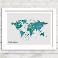 World Map Watercolor Print, Green Map Art, Watercolor Map Art, Minimalist Art Print, Home Decor Wall Art, Not Framed, Buy 2 Get 1 Free!