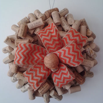 Wine Cork Wreath, Recycled Wreath, All Occasion Wreath, Wreath with Burlap Bow
