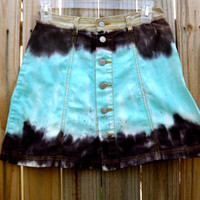 Turquoise, Dark brown, and Tan Skirt