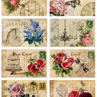 Post Cards, Digital Collage Sheet, Printable Images, Craft Supplies, Scrapbooking, Card Making, Decoupage, Fridge Magnets, Key Chains