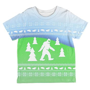 Ugly Christmas Sweater Bigfoot Sasquatch Yeti All Over Toddler T Shirt