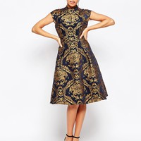 Chi Chi London High Neck Structured Skater Dress In Baroque Print at asos.com