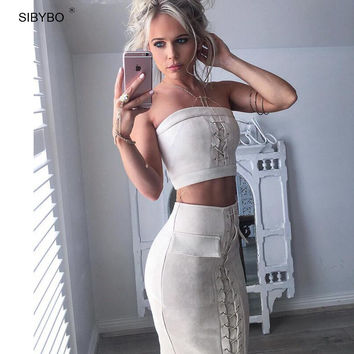 Sibybo Winter Autumn Suede Dress Off Shoulder High Waist 2 Piece Set Women Dress Lace Up Vintage Sexy Club Bodycon Party Dresses