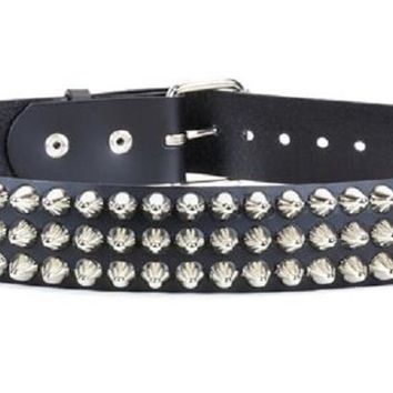 "3-Row Silver 1/2"" Dome Cone Head Studded Black Leather Belt 1-3/4"" Wide"