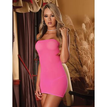 Club Seamless Mesh Tube Dress and G-string