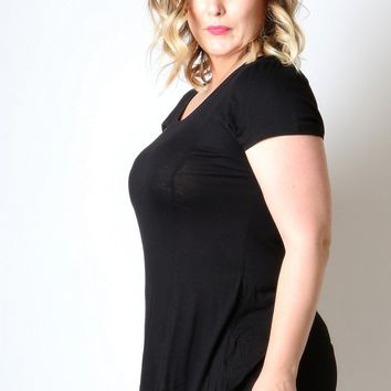 Women's Black Tunic Top Short Sleeve Plus Size Shirt: 1XL/2XL/3XL