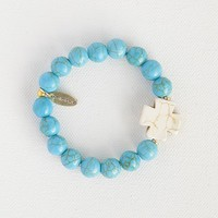 Liv•N•Grace10mm  Amazonite  Beads  with  White  Cross  Bracelet  From  Natural  Life