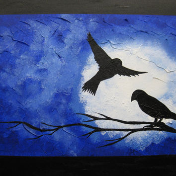 painting blue black white night midnight birds bird branch tree flight flying roosting pair large textured wall decor