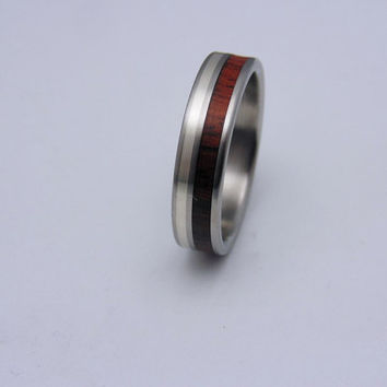 Wood Ring, Titanium wedding band, Rosewood, Silver inlay