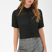 Semi-Sheer Collared Shirt - Tops - 2052546037 - Forever 21 UK
