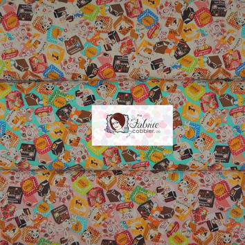 Cosmo Amimal Candy Fabric - Bunny, Fawn, Panda, Squirrel, Chocolate and Candy -  Japanese - BTY Cotton Fabric - Choose your cut and colorway