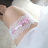 Romantic White Lace Wedding Garter,Victorian Baby Pink Bow Garter Belt Bridal Honeymoon Lingerie Keepsake Toss Lolita Simple Single Garter