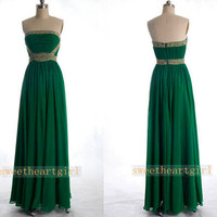 Green Ruched Strapless Long Prom Dress
