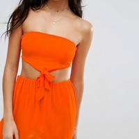 ASOS Knot Waist Cut Out Bandeau Beach Dress at asos.com