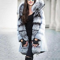 Winter Hooded Fur Chinchilla Coat