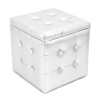 Lumisource Pouf Ottoman Square  in silver