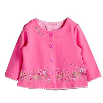 Spring Autumn Baby Children's Clothing Female Baby Girls Long-Sleeved Cardigan Jacket Coat Embroidered Pink Flowers Kids Clothes