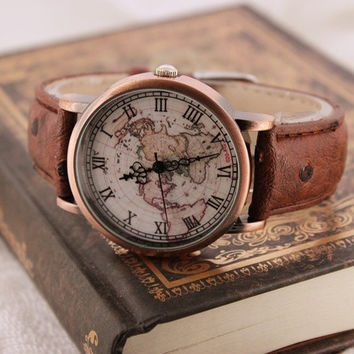 Vintage nautical maps watches (Color: Brown) = 5987551937