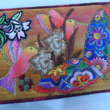 Quilted  Postcard - Laurel Burch Bird collage - Handmade  Postcard - Fabric  Postcard - Patchwork  - Artist Postcard - Birds Post Card