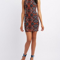 Printed Mesh Lace-Back Bodycon Dress