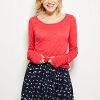 Printed Skater Skirt in Bird Print