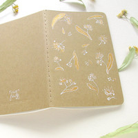 Summer journal, flower moleskine, travel notebook, illustrated cahier, golden flowers, tilia, linden