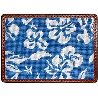 Hibiscus Credit Card Wallet in Blue by Smathers & Branson