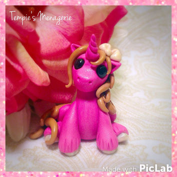 Adorable Unicorn custom polymer clay Miniature Raspberry Cheesecake Dessert pony horse figurine by Tempies Menagerie