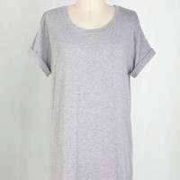 Minimal Long Short Sleeves Cover-up Simplicity on a Saturday Tunic in Grey
