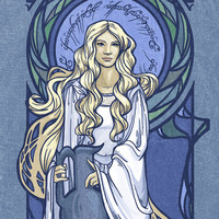 Galadriel Nouveau Art Print by Karen Hallion Illustrations