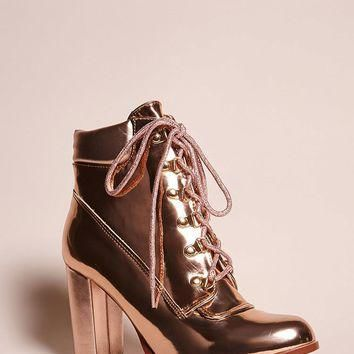 Faux Leather Lace-Up Ankle Boots