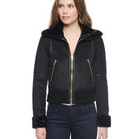 Pitch Black Faux Shearling Jacket by Juicy Couture,