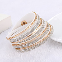 New Hot Sale Fashion Leather Bracelet Charm Bracelets Bangles For Women Buttons Adjust Size 1pcs Free Shipping