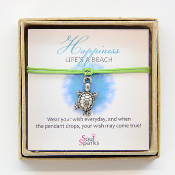 Happiness Life is a Beach, Silver Turtle Charm and Apple Green Cord Make a Wish  Bracelet / Anklet in a Gift Box