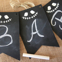 Chalkboard Banner Kit, DIY, Chalkboard theme, Weddings, Baby Shower, Photo Prop, Reusable, 4 pennants