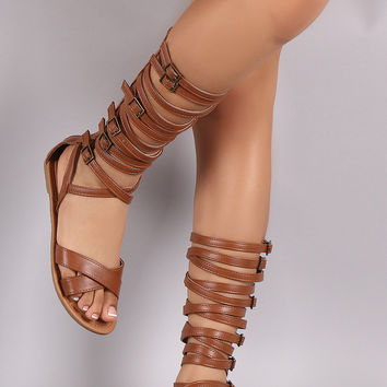Wild Diva Lounge Buckled Strappy Gladiator Flat Sandal
