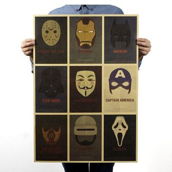 Retro Classic movie character posters - HULK IRONMAN STAR WARS MASK Vintage Paper Poster HOME WALL DECOR