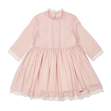 Pili Carrera Long-Sleeve Lace-Trim A-Line Dress, Pink, Size 4-6