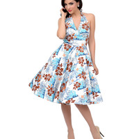Hell Bunny 1950s Style Blue & Brown Hibiscus Floral Halter Tiki Swing Dress