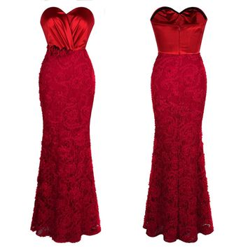 Angel-fashions Women's Pleated Mother of Bridesmaid Dress Flowers Party Gown  Red 383
