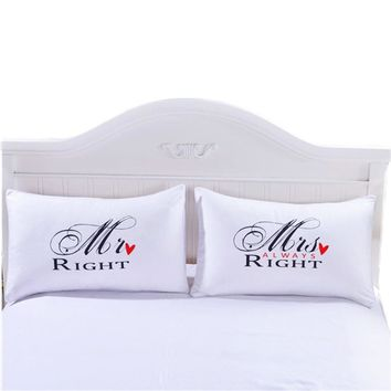 Mr Mrs Pillow Case Couple King Queen His Her Always Right Pillowcase Pillow Cover Wedding Valentine's Gift40
