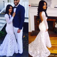 Long Sleeve Backless White Mermaid Prom Dresses