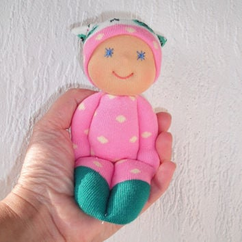 Cloth baby doll, Waldorf doll, Pocket doll, Pink sock doll, Baby and Toddler gift, Handmade toys, Christmas gifts, Babyshower gift