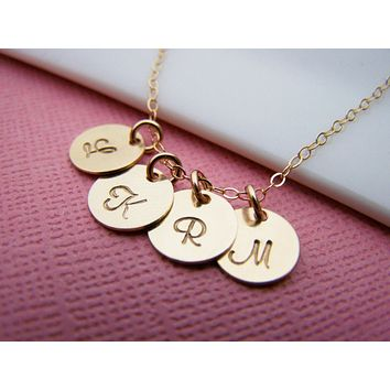 Gold initial necklace - tiny gold initial disc necklace