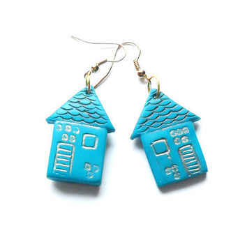 Polymer clay earrings little houses turquoise blue distressed antiqued house shaped dangle earrings