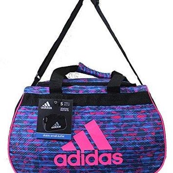 Adidas Diablo II Small Duffel Gym Bag Pebbles Solar Blue Solar Pink